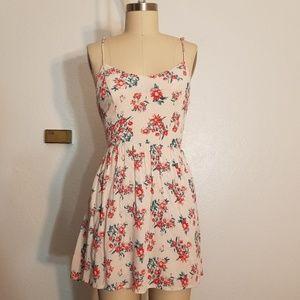 Floral Gauze Back Cutout Summer Dress